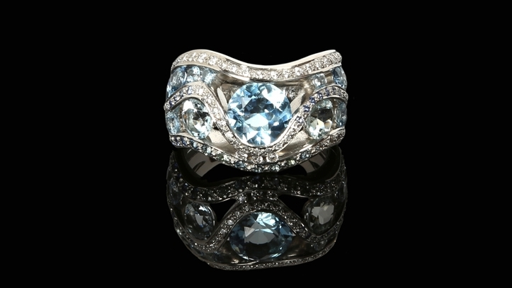 Aquamarine Glacier Ring