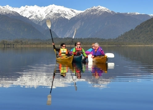 Join us on a unique kayak adventure just minutes from Franz Josef Glacier!  Set out across lake Mapourika's calm and glassy waters taking in the mirror-like reflections of the surrounding Southern Alps and Glaciers!  Explore the rainforest and kiwi sanctuary in the protected Okarito forest.  FREE photos included with each tour!